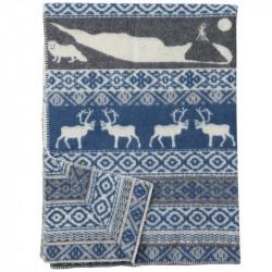 Wool Blanket Sarek Blue Grey