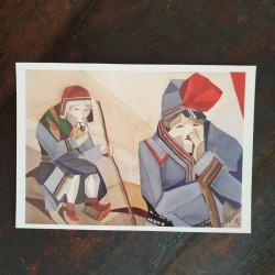 Konstkort Väntan A V Waara