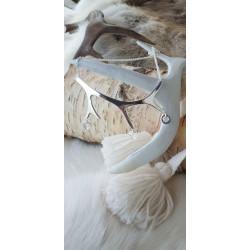 Pendant Reindeerhorn Horisontal Three Rings Silver