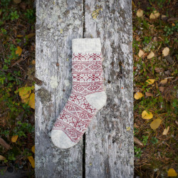 Wool Socks Offwhite Red