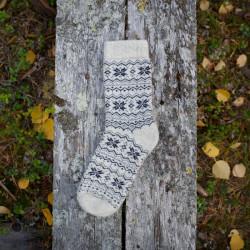 Wool Socks Offwhite Grey