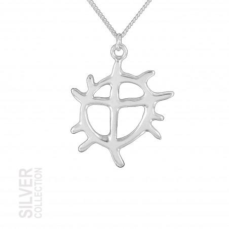 Halsband Solhjulet Stor Silver Från Jokkmokks Tenn