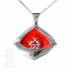 Halsband Sáráhkká Röd Stor Silver Från Jokkmokks Tenn