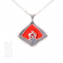 Halsband Sáráhkká Röd Liten Silver Från Jokkmokks Tenn