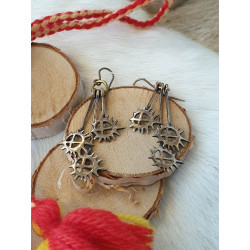 Earrings Three Suns Long Bronze
