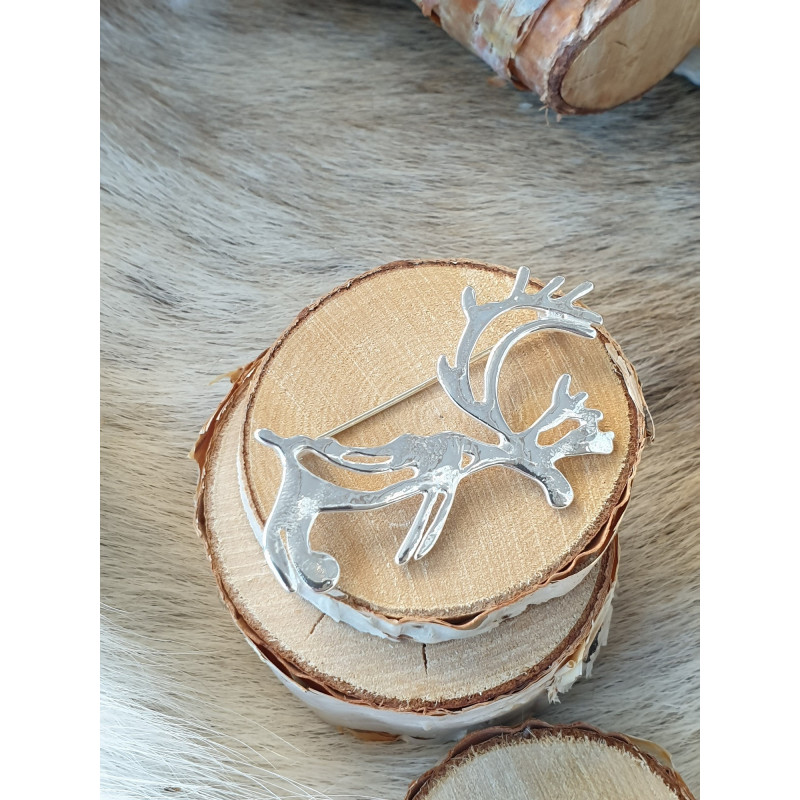 Brooch Reindeer Medium Silver