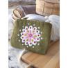 Purse Wool Green Flower