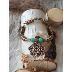 Armband Vintage Turkosa Pärlor Brons Från Kalevala