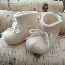 Babytoffel Ull Naturvit