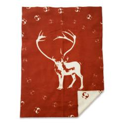 Wool Blanket Leila Reindeer Darkred Offwhite