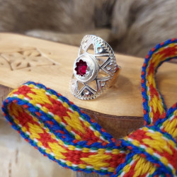 Ring Silver Red Stone By...