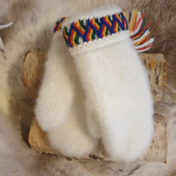 Gloves White Wool Handmade...