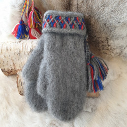 Gloves Grey Red Blue Wool...